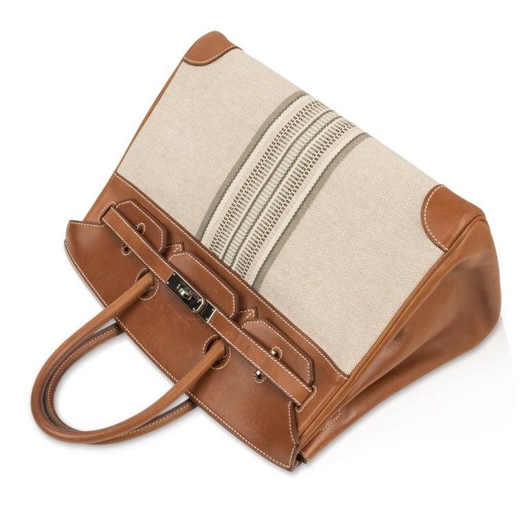 Hermes Birkin 35 Bag Rare H Ganges Toile Barenia Limited Edition Palladium  For Sale 1