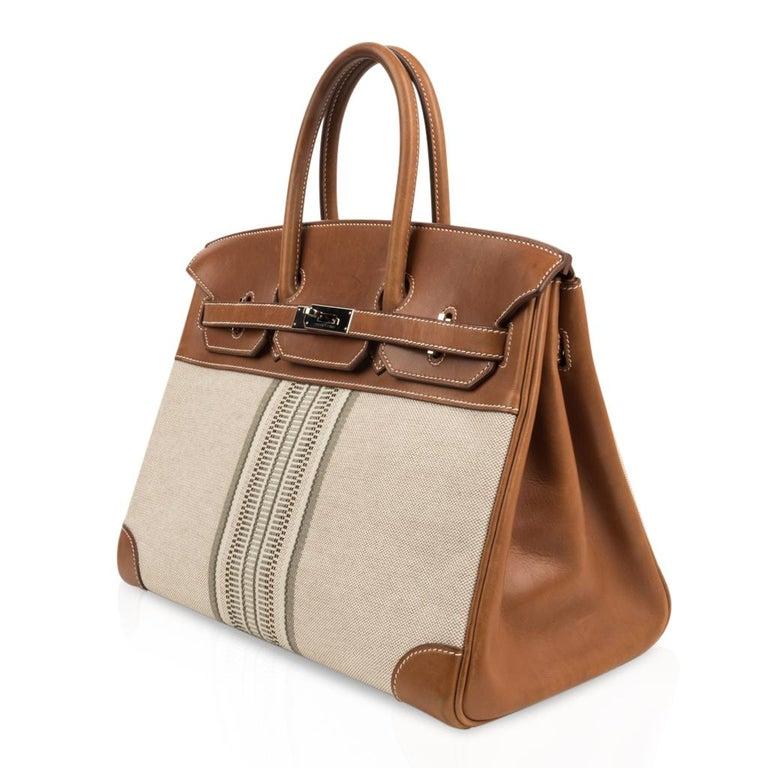 Hermes Birkin 35 Bag Rare H Ganges Toile Barenia Limited Edition Palladium  For Sale 2
