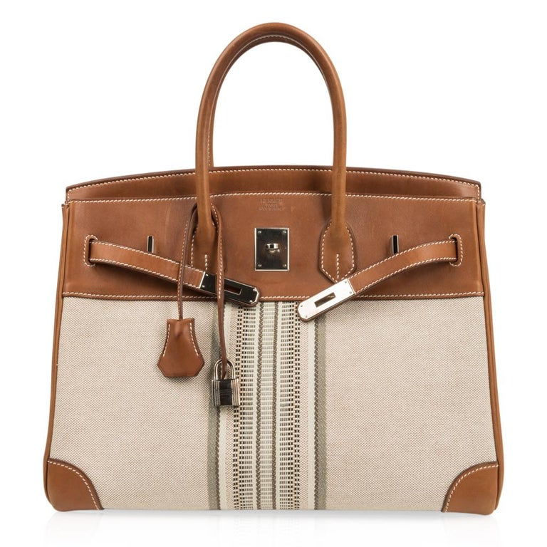 Hermes Birkin 35 Bag Rare H Ganges Toile Barenia Limited Edition Palladium  For Sale 3