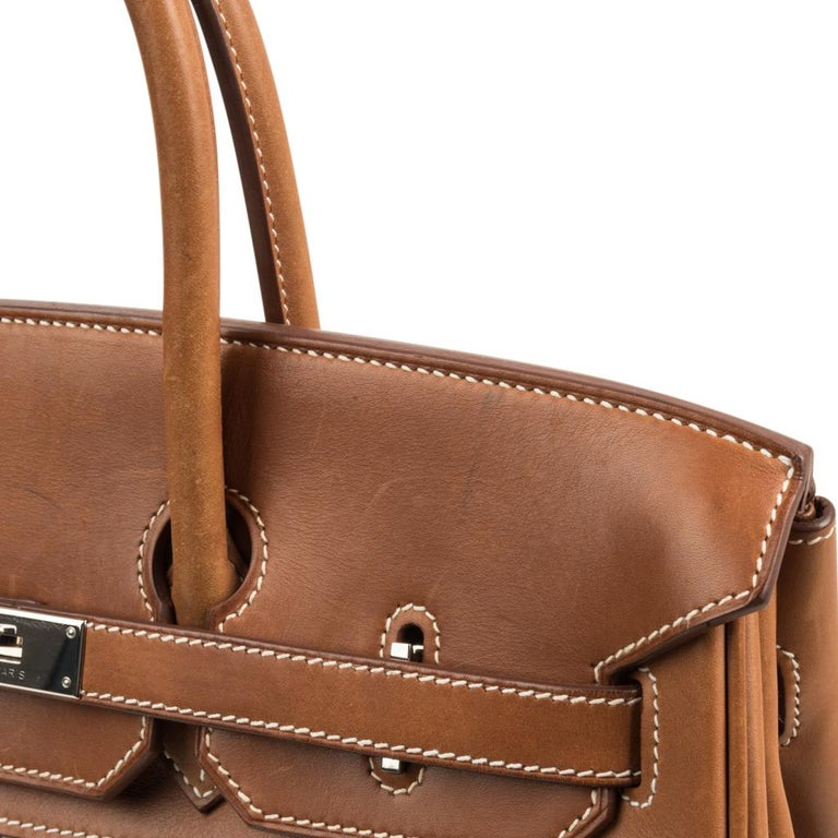 Hermes Birkin 35 Bag Rare H Ganges Toile Barenia Limited Edition Palladium  For Sale 4