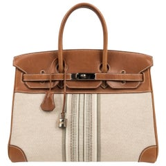 Hermes Birkin 35 Bag Rare H Ganges Toile Barenia Limited Edition Palladium