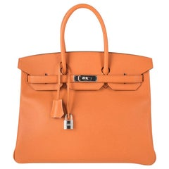 Hermes Birkin 35 Bag Rare H Orange Epsom Palladium Hardware