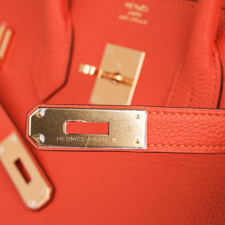 Red Hermes Birkin 35 Bag Rare Feu Orange Togo Gold Hardware
