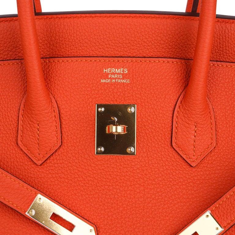 Hermes Birkin 35 Bag Rare Feu Orange Togo Gold Hardware In New Condition In Miami, FL