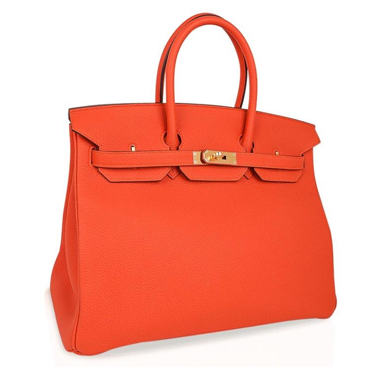 Women's Hermes Birkin 35 Bag Rare Feu Orange Togo Gold Hardware