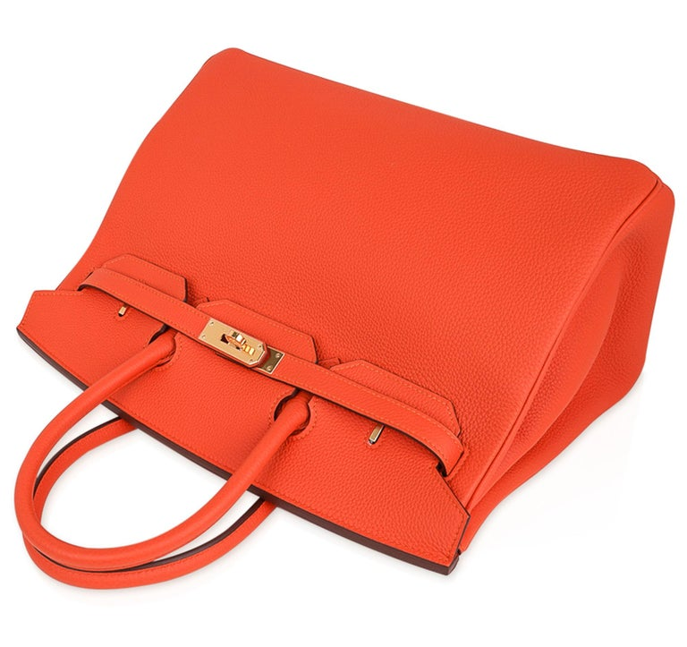 Hermes Birkin 35 Bag Rare Feu Orange Togo Gold Hardware 1