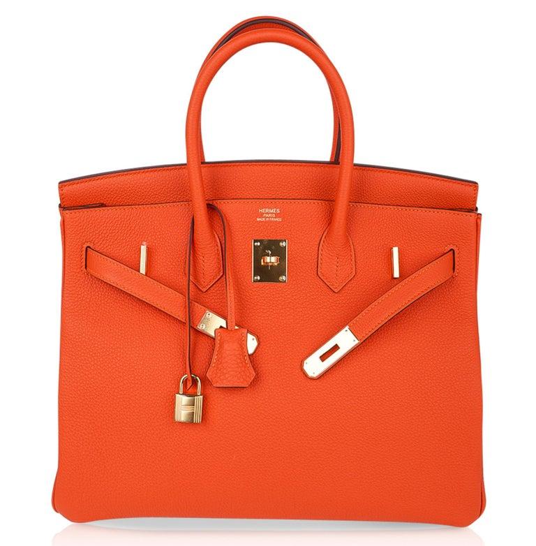 Hermes Birkin 35 Bag Rare Feu Orange Togo Gold Hardware 2
