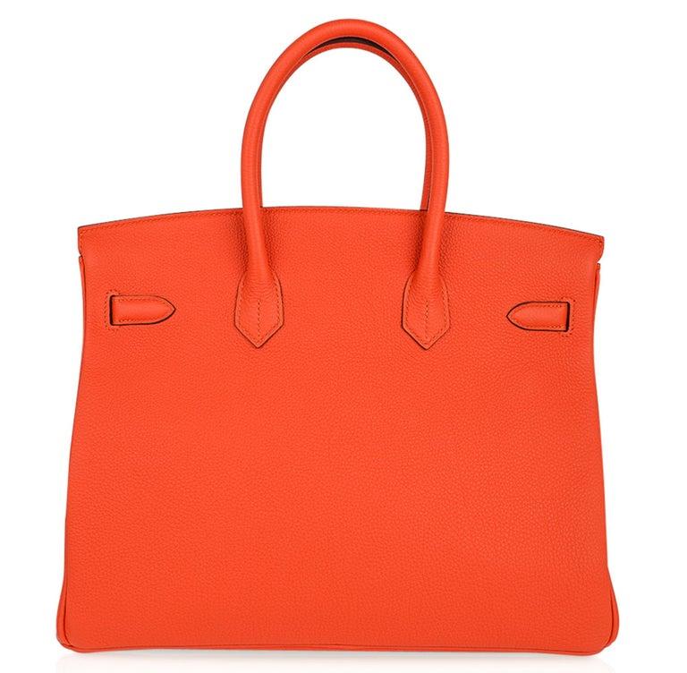 Hermes Birkin 35 Bag Rare Feu Orange Togo Gold Hardware 3