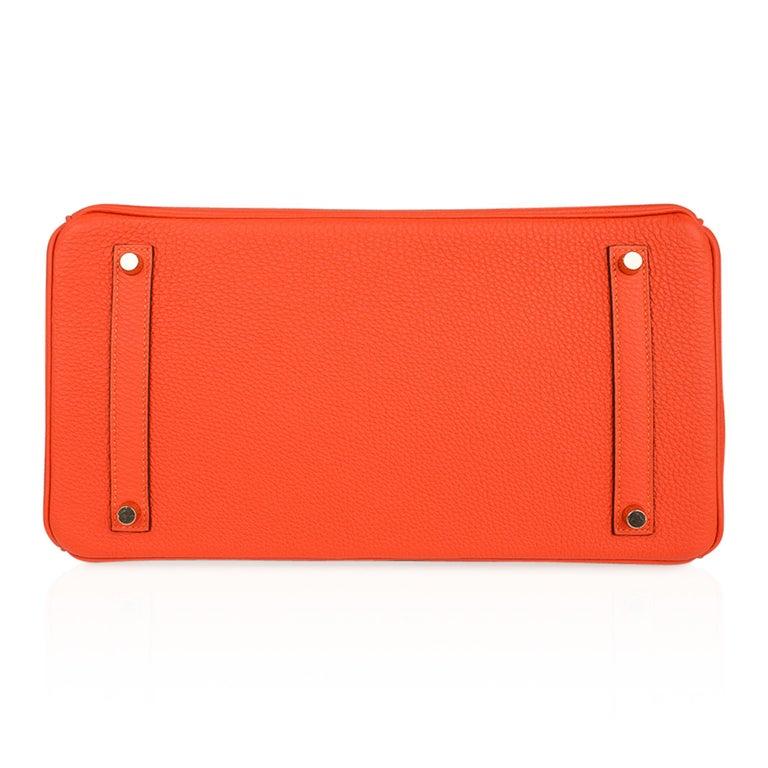 Hermes Birkin 35 Bag Rare Feu Orange Togo Gold Hardware 4