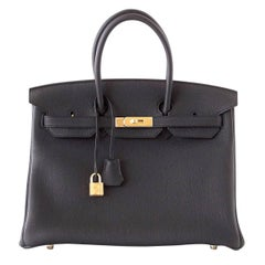 Hermes Birkin 35 Bag Sleek Black Togo Gold Hardware
