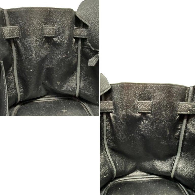 Hermes Birkin 35 Bag Togo Black Leather Palladium Hardware Top Handle Handbag  For Sale 7