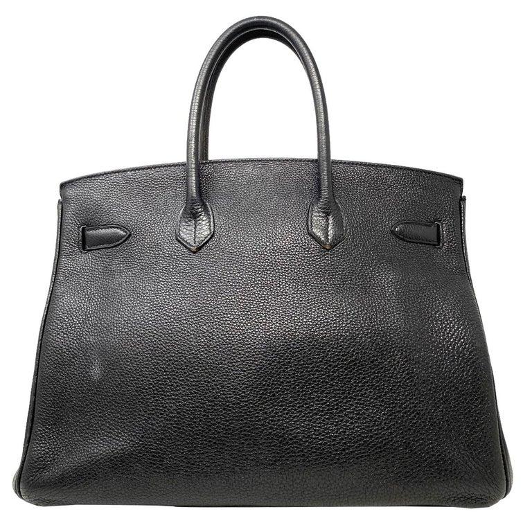 Company-Hermes  Model-Hermes Birkin 35 Bag Togo Black Leather Palladium Hardware Top Handle Handbag  Color-Black Date Code-CO147 Material-Black Togo Leather  Measurements-14