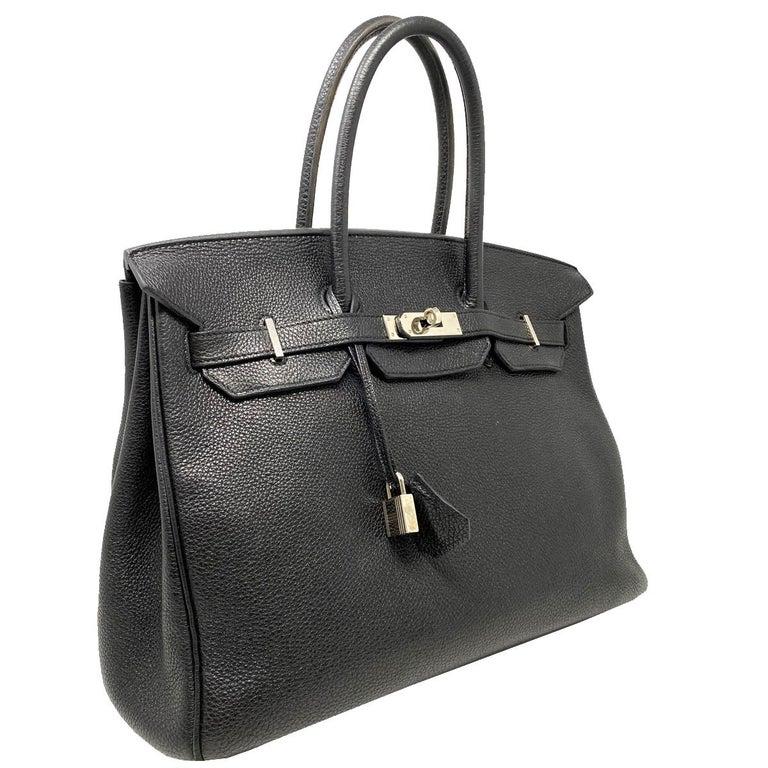 Hermes Birkin 35 Bag Togo Black Leather Palladium Hardware Top Handle Handbag  In Good Condition For Sale In Boca Raton, FL