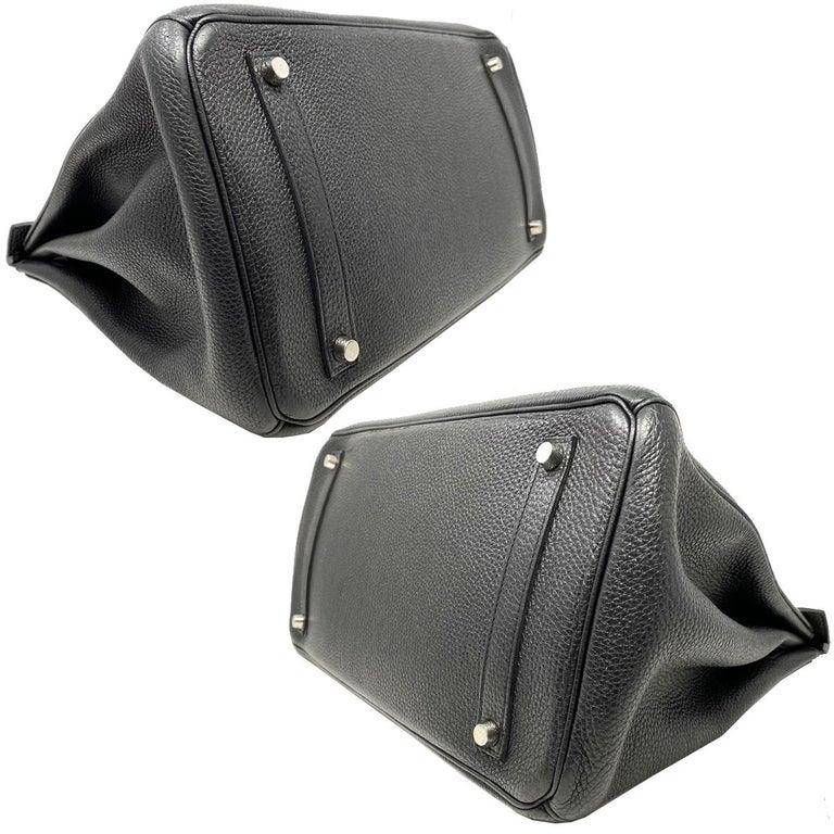 Hermes Birkin 35 Bag Togo Black Leather Palladium Hardware Top Handle Handbag  For Sale 1