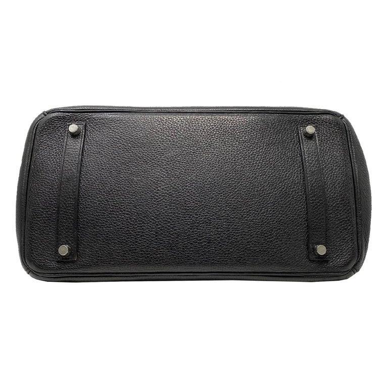 Hermes Birkin 35 Bag Togo Black Leather Palladium Hardware Top Handle Handbag  For Sale 2