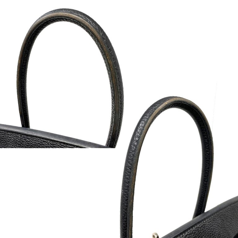 Hermes Birkin 35 Bag Togo Black Leather Palladium Hardware Top Handle Handbag  For Sale 3