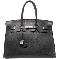 Hermes Birkin 35 Bag Togo Black Leather Palladium Hardware Top Handle Handbag