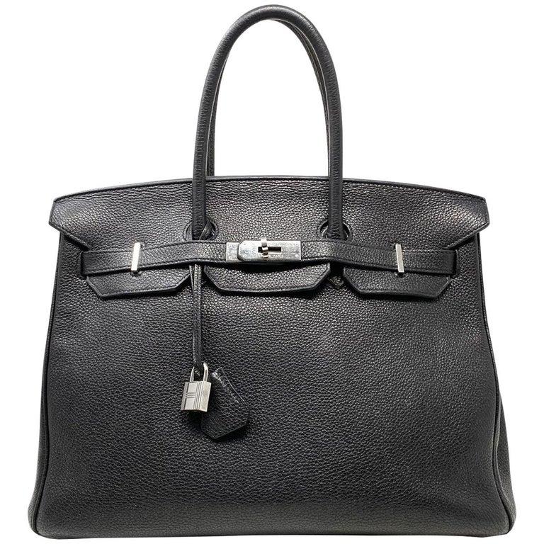 Hermes Birkin 35 Bag Togo Black Leather Palladium Hardware Top Handle Handbag  For Sale