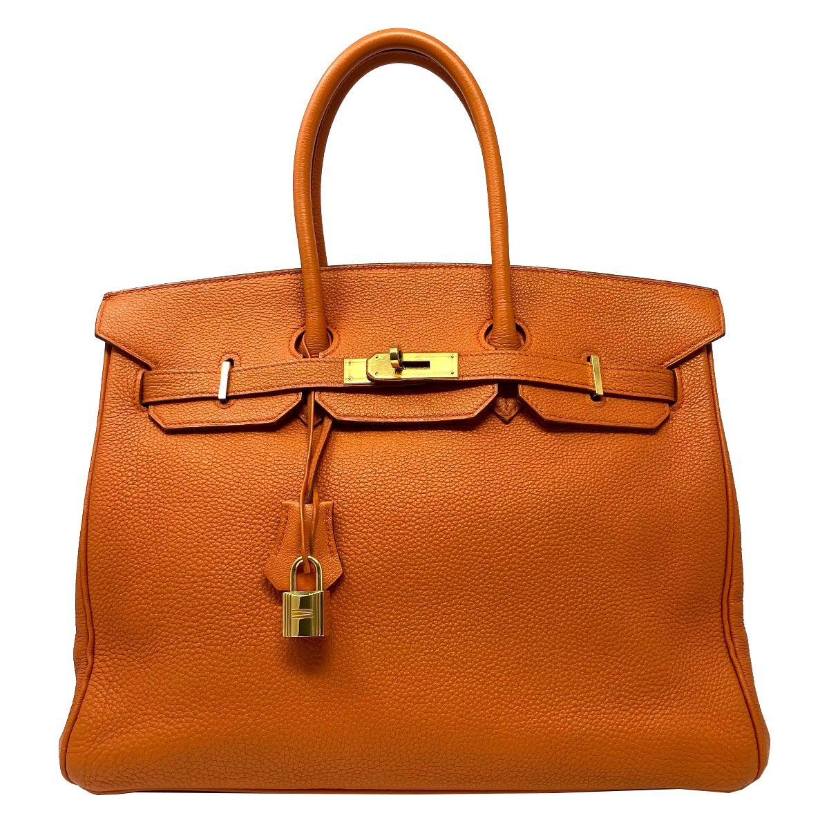 Hermes Birkin 35 Bag Togo Orange Leather GHW Top Handle Handbag