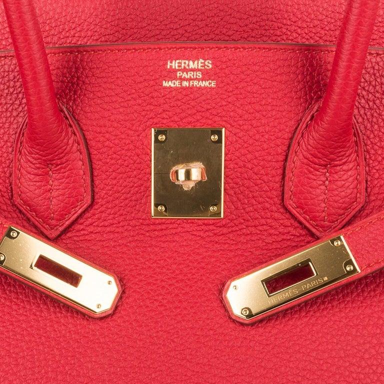 Hermes Birkin 35 Bag Vermillion Red Togo Gold Hardware In New Condition For Sale In Miami, FL