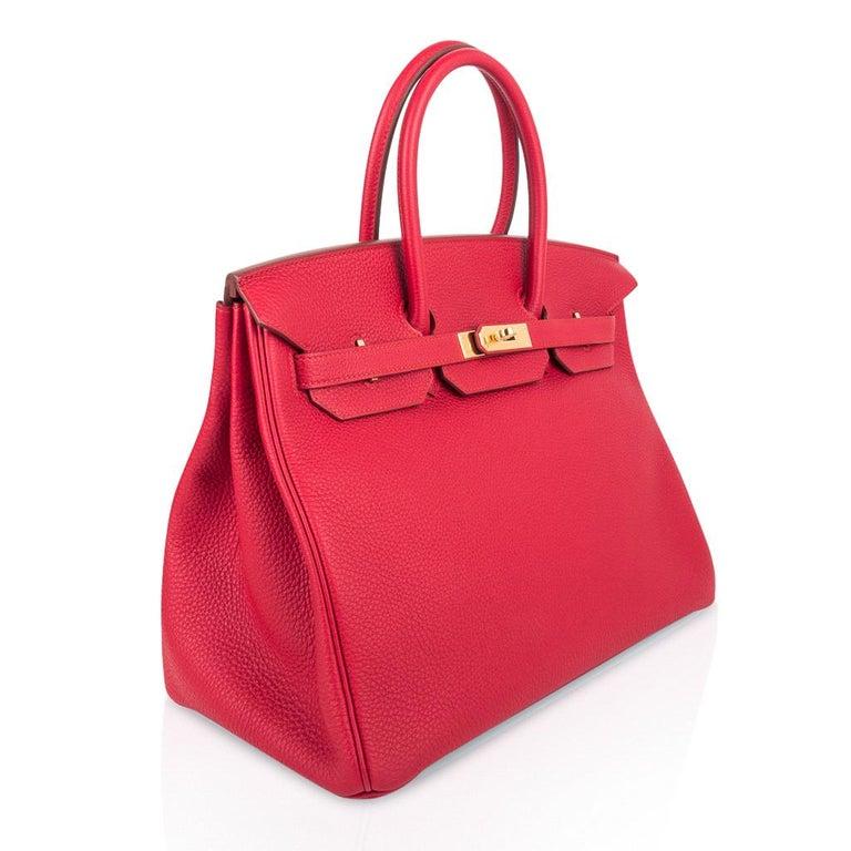 Women's Hermes Birkin 35 Bag Vermillion Red Togo Gold Hardware For Sale