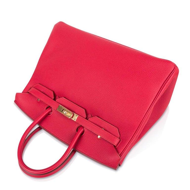 Hermes Birkin 35 Bag Vermillion Red Togo Gold Hardware For Sale 1