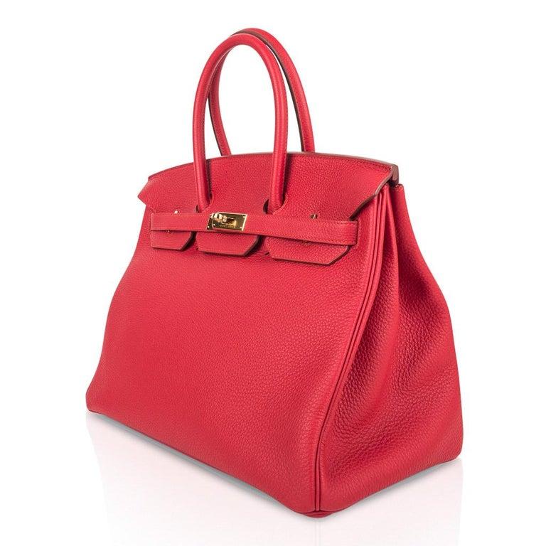 Hermes Birkin 35 Bag Vermillion Red Togo Gold Hardware For Sale 2