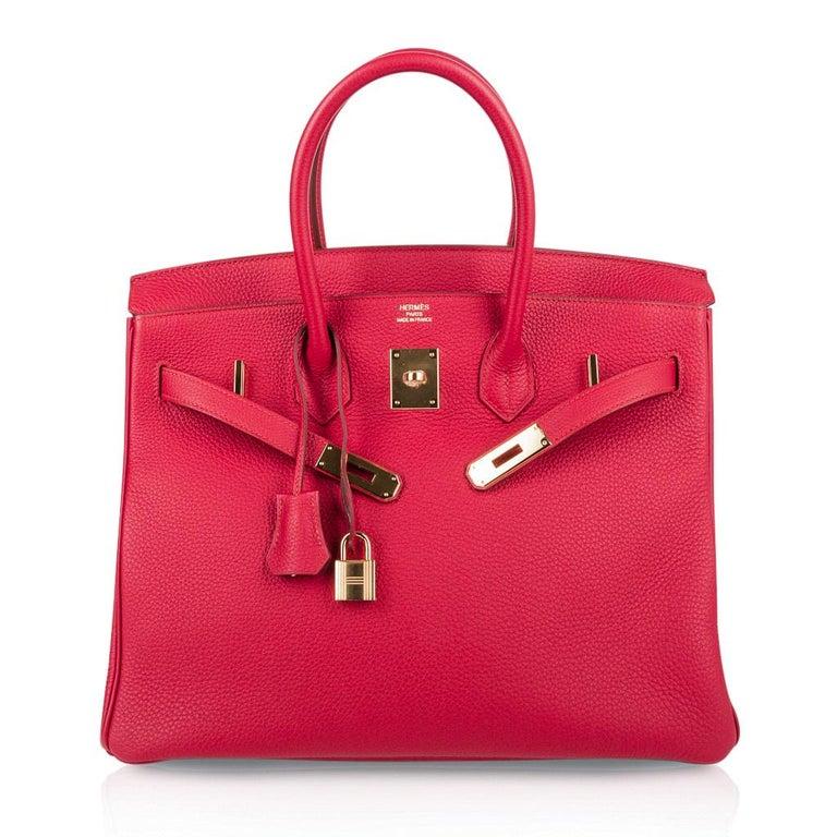 Hermes Birkin 35 Bag Vermillion Red Togo Gold Hardware For Sale 3