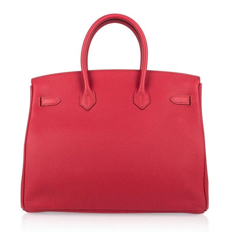 Hermes Birkin 35 Bag Vermillion Red Togo Gold Hardware For Sale 4