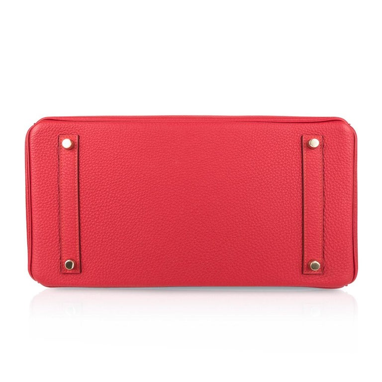 Hermes Birkin 35 Bag Vermillion Red Togo Gold Hardware For Sale 5