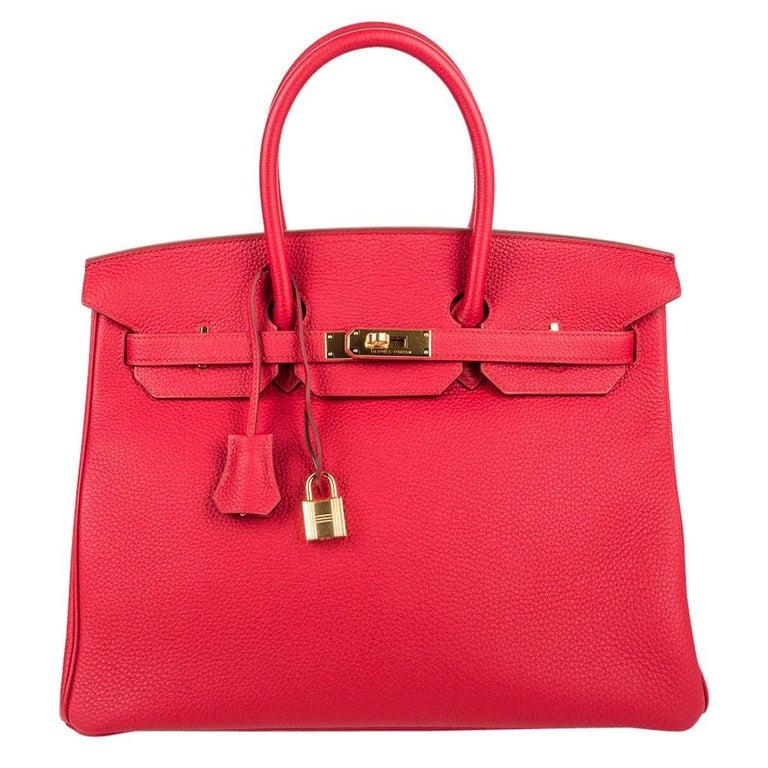 Hermes Birkin 35 Bag Vermillion Red Togo Gold Hardware For Sale