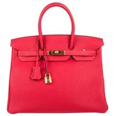 Hermes Birkin 35 Bag Vermillion Red Togo Gold Hardware New w/ Box