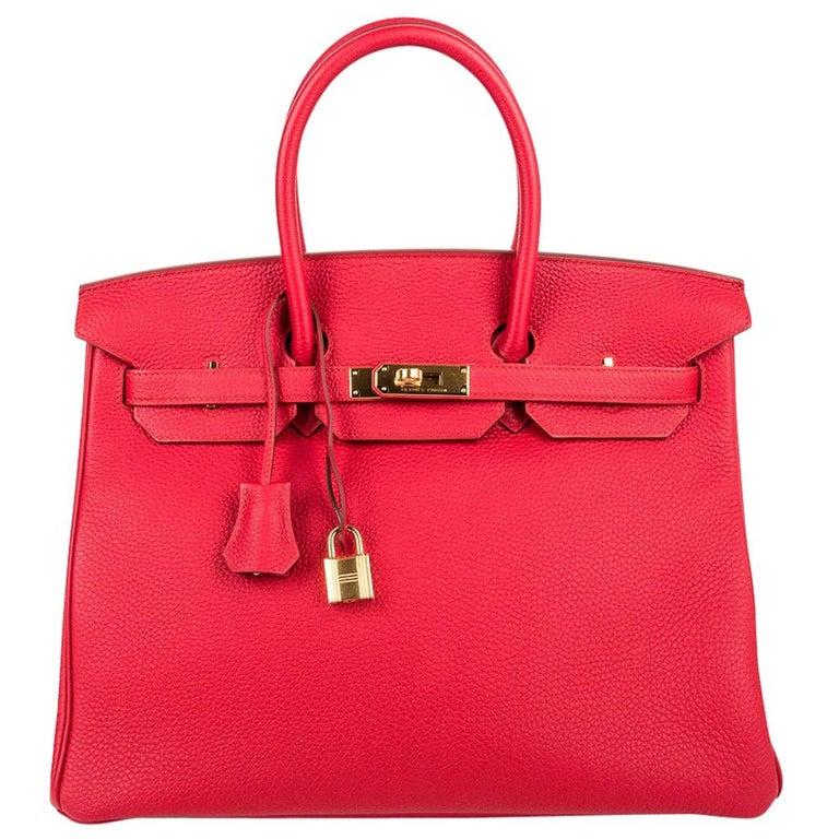 Hermes Birkin 35 Bag Vermillion Red Togo Gold Hardware New w/ Box For Sale