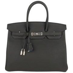 Hermes Birkin 35 Bag Verso Black Blue Agate Interior Togo Palladium Hardware
