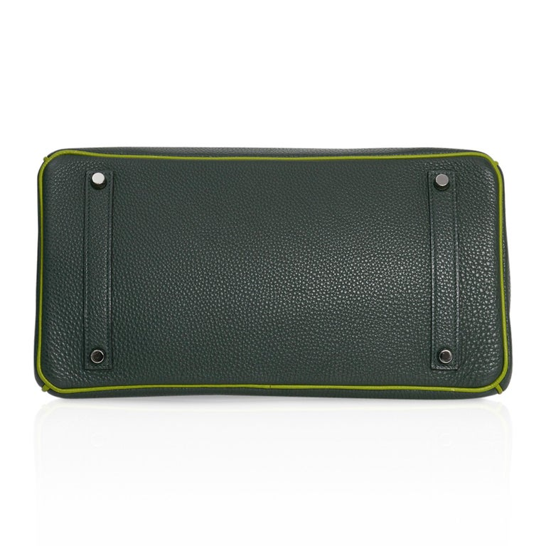 Hermes Birkin 35 Bag Vert Fonce / Vert Anis / Chartreuse Interior Ruthenium Togo For Sale 5