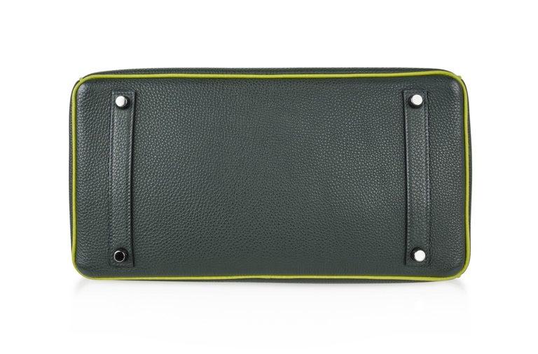 Hermes Birkin 35 Bag Vert Fonce / Vert Anis / Chartreuse Interior Ruthenium Togo 11
