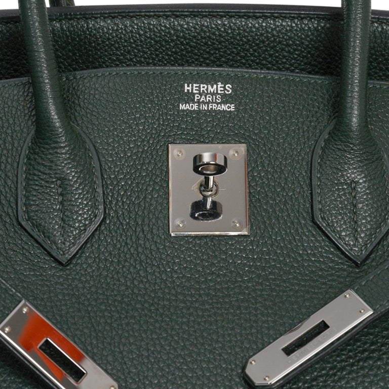 Guaranteed authentic Hermes Birkin 35 Limited Edition Vert Fonce, Vert Anis, Chartreuse bag. Rare special order Hermes tri colour Birkin bag in Togo leather.  Rich Vert Fonce with Vert Anis trim and Chartreuse interior.  Rare ruthenium hardware.  A