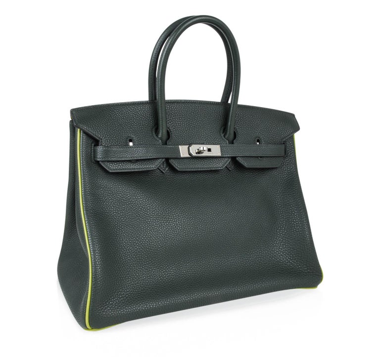 Hermes Birkin 35 Bag Vert Fonce / Vert Anis / Chartreuse Interior Ruthenium Togo In Excellent Condition In Miami, FL