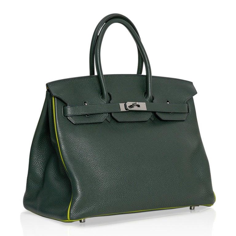 Hermes Birkin 35 Bag Vert Fonce / Vert Anis / Chartreuse Interior Ruthenium Togo In Good Condition For Sale In Miami, FL