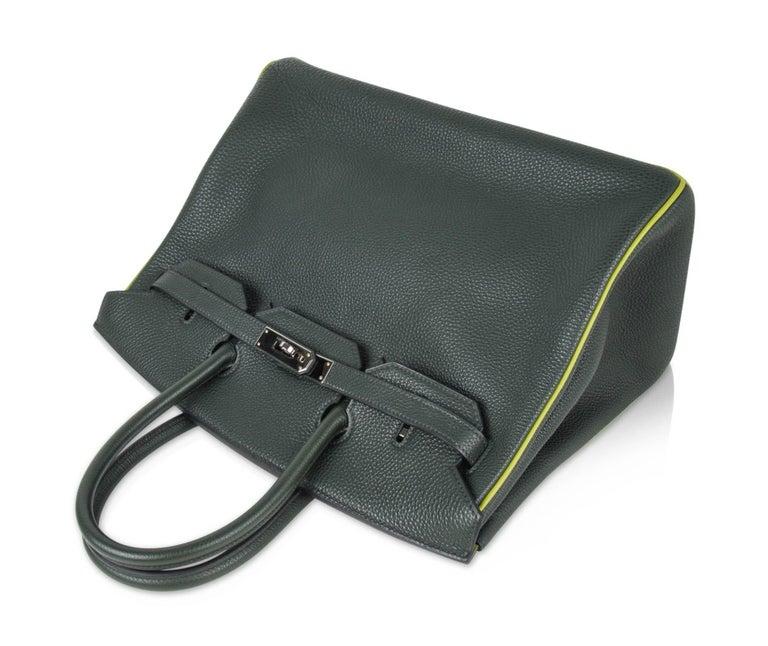 Hermes Birkin 35 Bag Vert Fonce / Vert Anis / Chartreuse Interior Ruthenium Togo 5