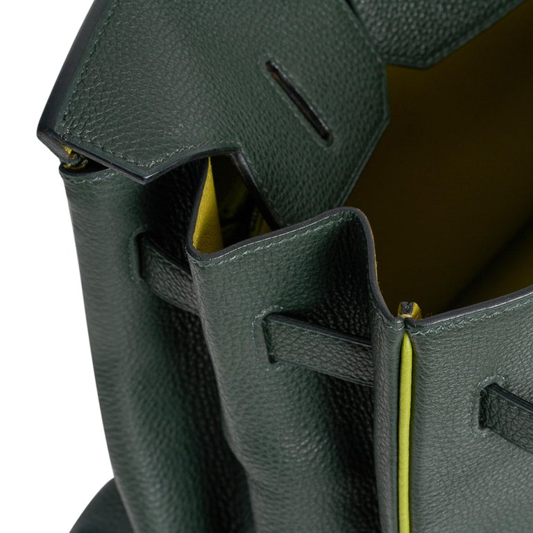 Women's Hermes Birkin 35 Bag Vert Fonce / Vert Anis / Chartreuse Interior Ruthenium Togo For Sale