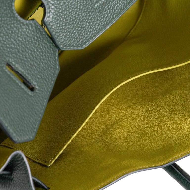 Hermes Birkin 35 Bag Vert Fonce / Vert Anis / Chartreuse Interior Ruthenium Togo For Sale 1