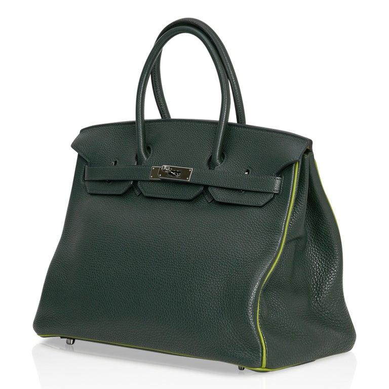 Hermes Birkin 35 Bag Vert Fonce / Vert Anis / Chartreuse Interior Ruthenium Togo For Sale 2