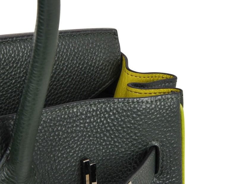 Hermes Birkin 35 Bag Vert Fonce / Vert Anis / Chartreuse Interior Ruthenium Togo 8