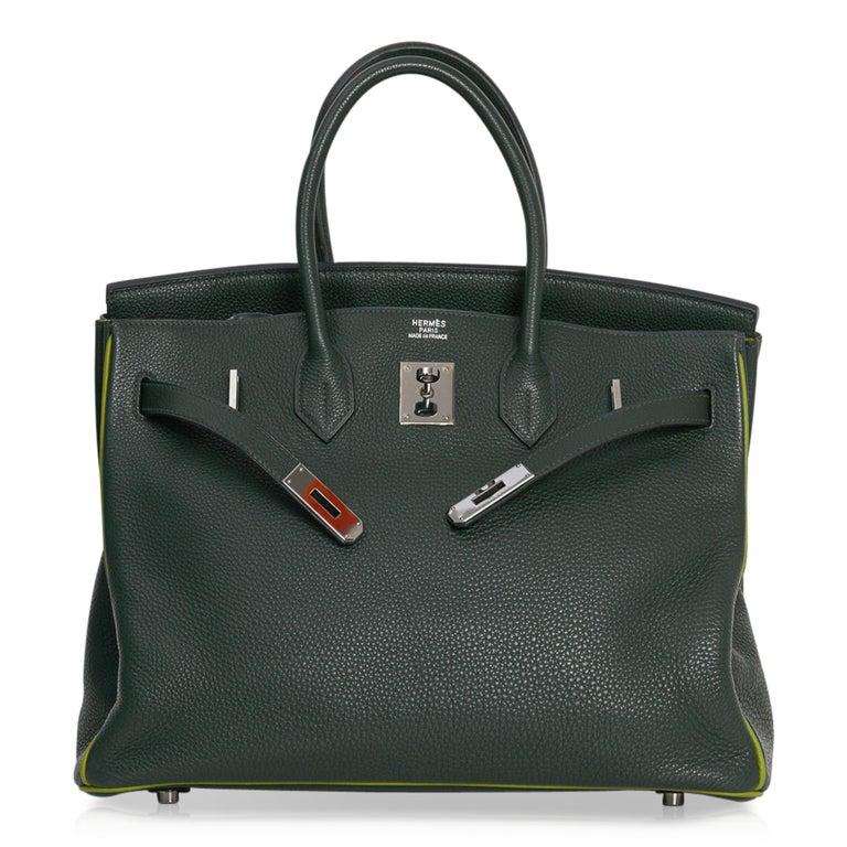 Hermes Birkin 35 Bag Vert Fonce / Vert Anis / Chartreuse Interior Ruthenium Togo For Sale 3