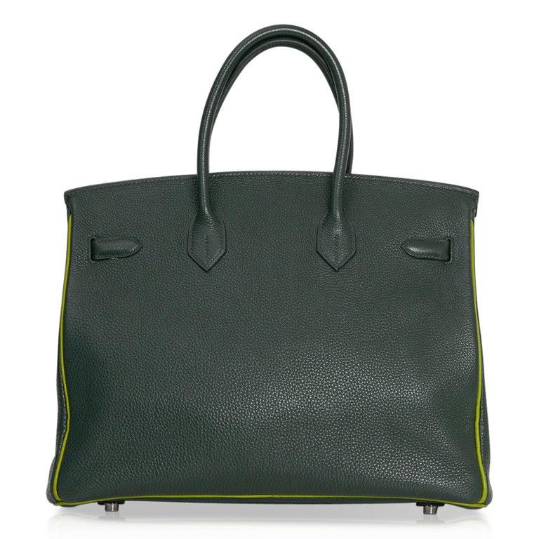 Hermes Birkin 35 Bag Vert Fonce / Vert Anis / Chartreuse Interior Ruthenium Togo For Sale 4