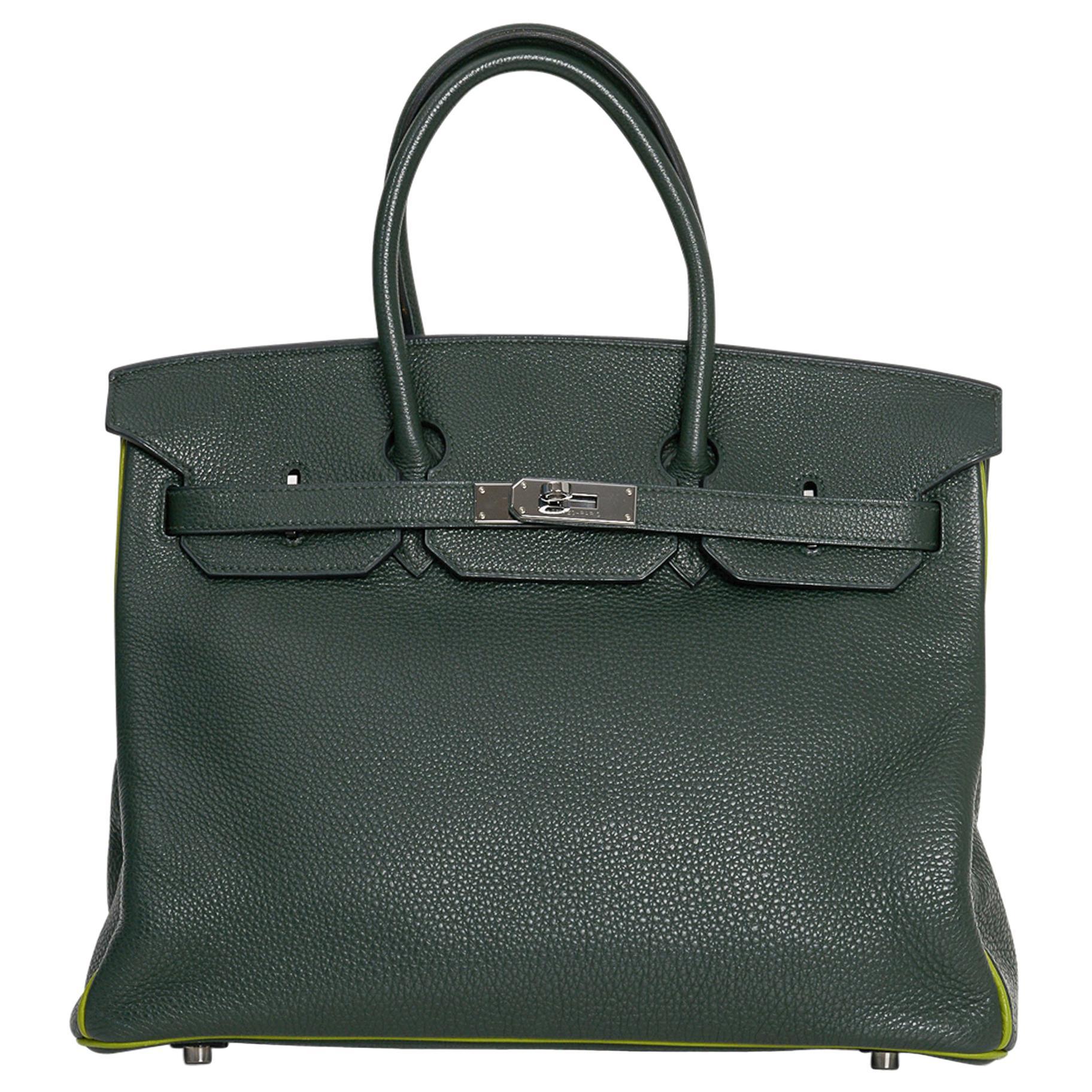 Hermes Birkin 35 Bag Vert Fonce / Vert Anis / Chartreuse Interior Ruthenium Togo