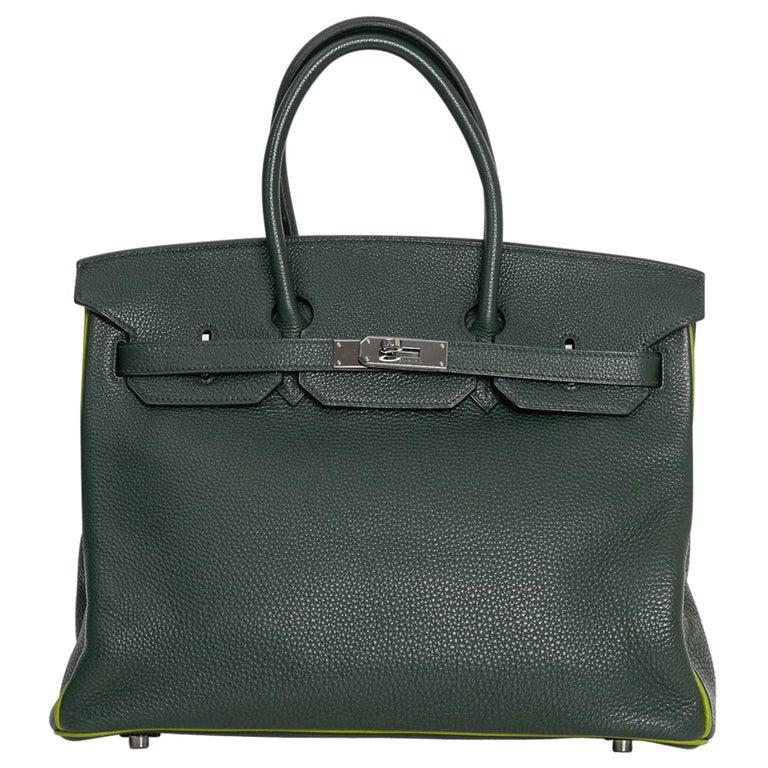 Hermes Birkin 35 Bag Vert Fonce / Vert Anis / Chartreuse Interior Ruthenium Togo For Sale