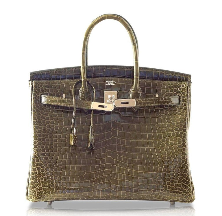Hermes Birkin 35 Bag Vert Veronese Porosus Crocodile Palladium Army Green For Sale 1