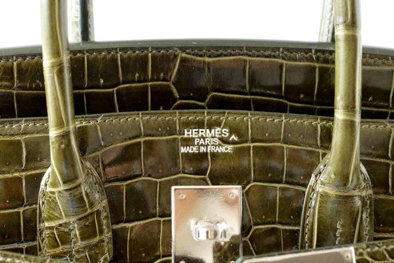 8910102af42f Hermes Birkin 35 Bag Vert Veronese Porosus Crocodile Palladium Army Green  In New Condition For Sale
